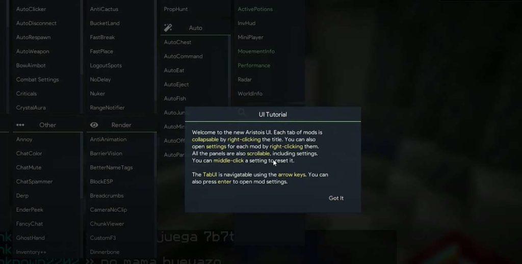 Minecraft Aristois 1.17.1 hack